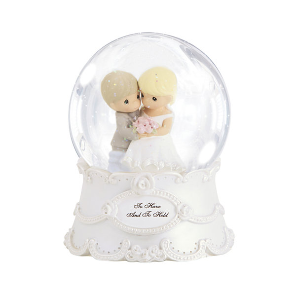 "Precious Moments  ""To Have And To Hold""  Resin/Glass Snow Globe  Musical  #143101"