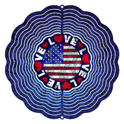 "Wind Spinner Yard Art Love the USA 10"" Wind Spinner"