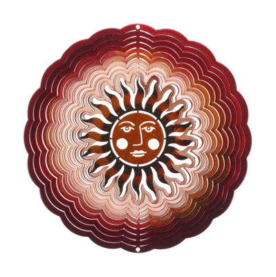 Medium Sun Face Antique Red Copper Windspinner