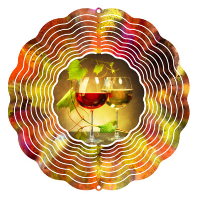 """Wind Spinner Yard Decor and White Wine 10"""" Wind Spinner"""