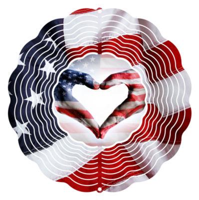 """Wind Spinner Yard Art Flag Heart 10"""" Wind Spinner"""