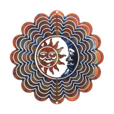 Medium Sun Moon Blue Copper Windspinner