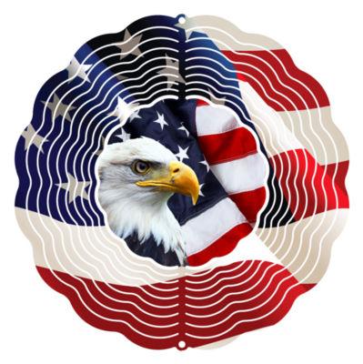 "Wind Spinner Yard Art Eagle Flag 10"" Wind Spinner"