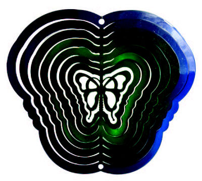 Yard Art Butterfly Blue Green Wind Spinner