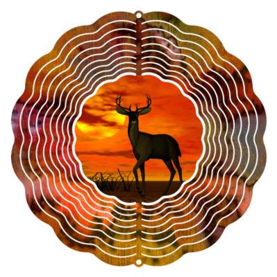 """Wind Spinner Yard Art Sunset Deer 10"""" Wind Spinner"""""""