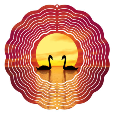 "Wind Spinner Yard Decor Sunset Swan 10"" Wind Spinner"