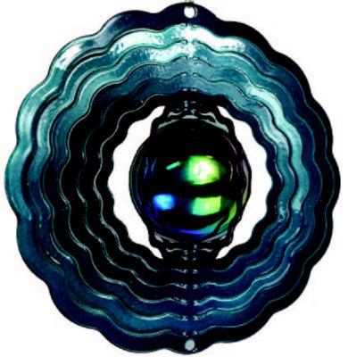 Wind Spinner Yard Art Teal Gazing Ball