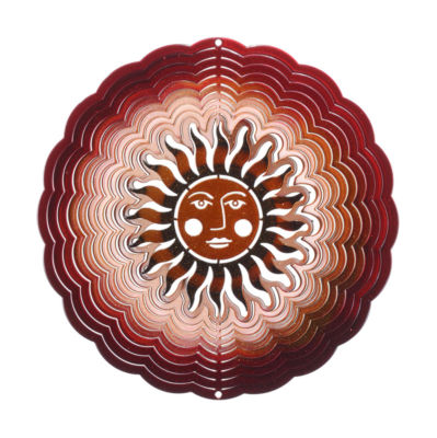 Small Sun Face Antique Red Copper Windspinner