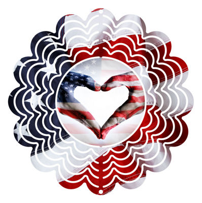 Wind Spinner Yard Decor Flag Heart 6""
