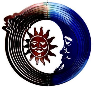Yard Art Medium Sun Moon Blue Copper Wind Spinner