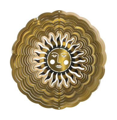Medium Sun Face Antique Gold Windspinner