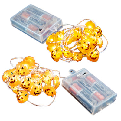 Battery Operated LED Waterproof Mini String Lightswith Timer (40 total lights) Jack O' Lantern (Setof 2)