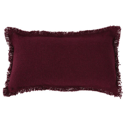 VHC Brands Burlap Merlot Snowflake Quote 7 x 13 Fringed Pillow