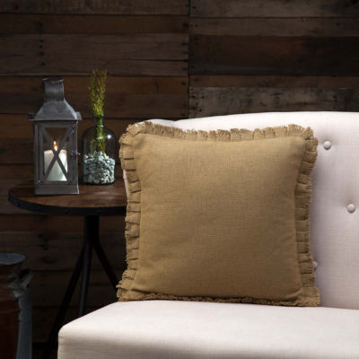 VHC Brands Burlap Natural 16 x 16 Fringed Pillow