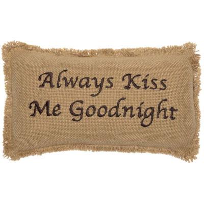 VHC Brands Burlap Natural Always Kiss Me Goodnight 7 x 13 Pillow