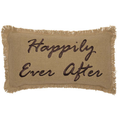 VHC Brands Burlap Natural Happily Ever After 7 x13Pillow