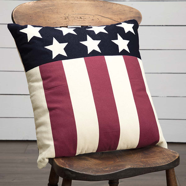 VHC Brands Modern American Flag 18 x 18 Pillow
