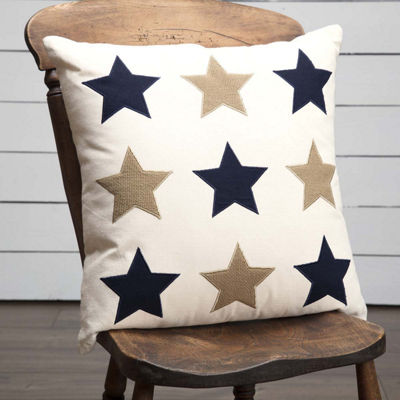 VHC Brands Navy and Burlap Star Applique 18 x 18 Pillow