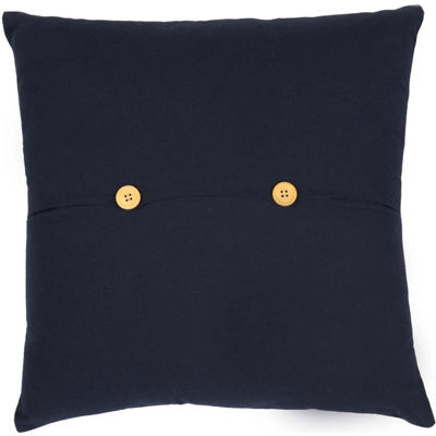 VHC Brands Navy and White Star Applique 18 x 18 Pillow