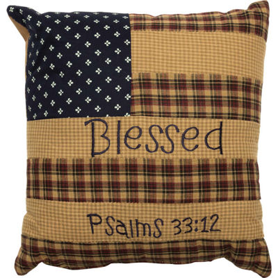 VHC Brands Patriotic Patch Blessed 10 x 10 Pillow