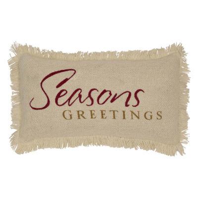 VHC Brands Creme Burlap Seasons Greetings 7 x 13 Pillow