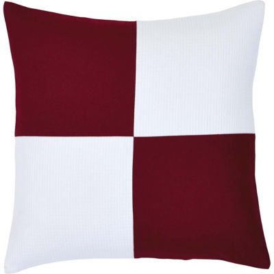 VHC Brands Red and White Patchwork 18 x 18 Down Pillow