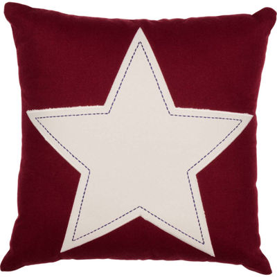 VHC Brands Red and White Star Applique 18 x 18 Pillow