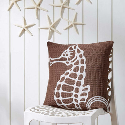 VHC Brands Embroidered Seahorse 18 x 18 Pillow