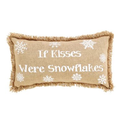 VHC Brands Snowflake Burlap If Kisses..Snowflakes 7x 13 Pillow Set