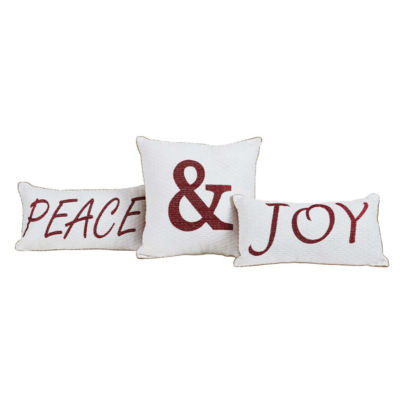 VHC Brands Vintage Stripe Peace & Joy Pillow Set