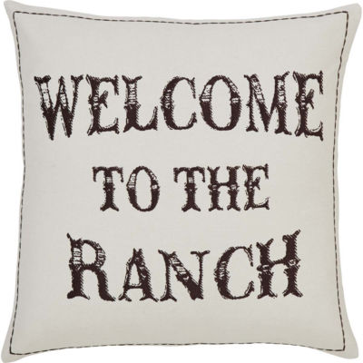 VHC Brands Welcome to the Ranch 18 x 18 Down Pillow
