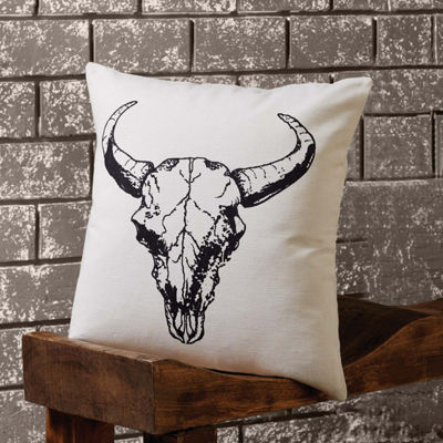 VHC Brands Western Skull 18 x 18 Pillow