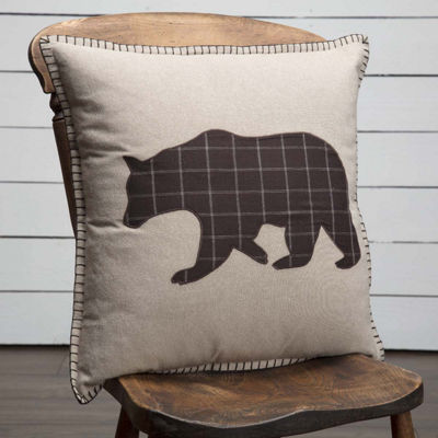 VHC Brands Wyatt Applique Bear 18 x 18 Pillow