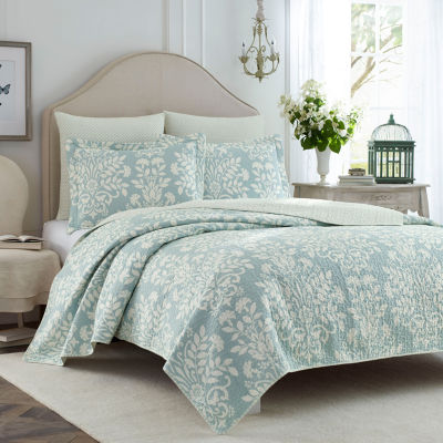 Laura Ashley Rowland Aqua Quilt Set