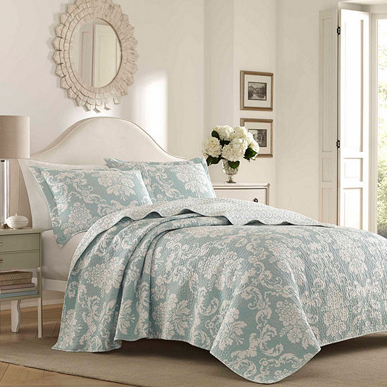 Laura Ashley Venetia Bright Blue Quilt Set