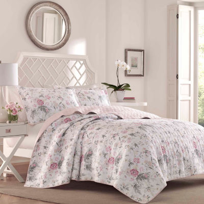 Laura Ashley Breezy Floral Grey Quilt Set