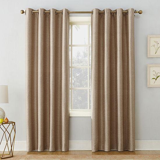 Sun Zero Isaac Energy Saving Blackout Grommet-Top Single Curtain Panel