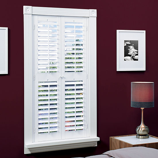 sharp bathroom window coverings | JCPenney Home™ Faux-Wood Plantation Shutters with Mid-Rail ...