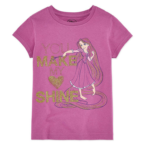 Disney Collection Girls Short Sleeve Tangled Graphic T-Shirt - Big Kid