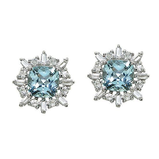 Genuine Blue Topaz Sterling Silver 12mm Square Stud Earrings