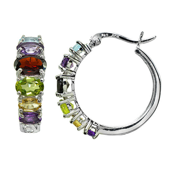 Multi Color Sterling Silver 22mm Hoop Earrings