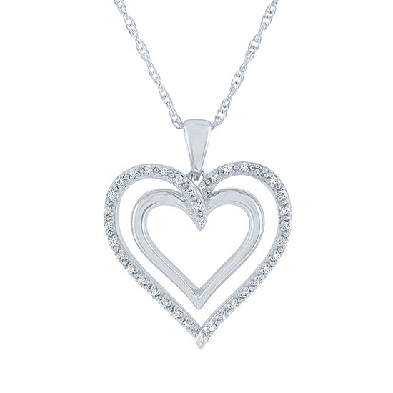 LIMITED TIME SPECIAL! 1/10 CT. T.W. Genuine Diamond Heart Pendant Necklace in Sterling Silver