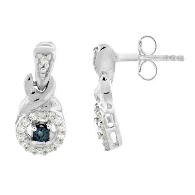 1/8 CT. T.W. Blue Diamond Drop Earrings