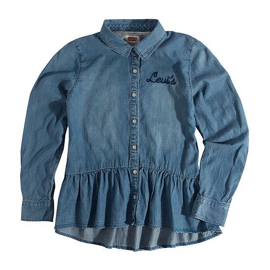 Levi's Woven Peplum Top Girls Long Sleeve Button-Front Shirt Big Kid