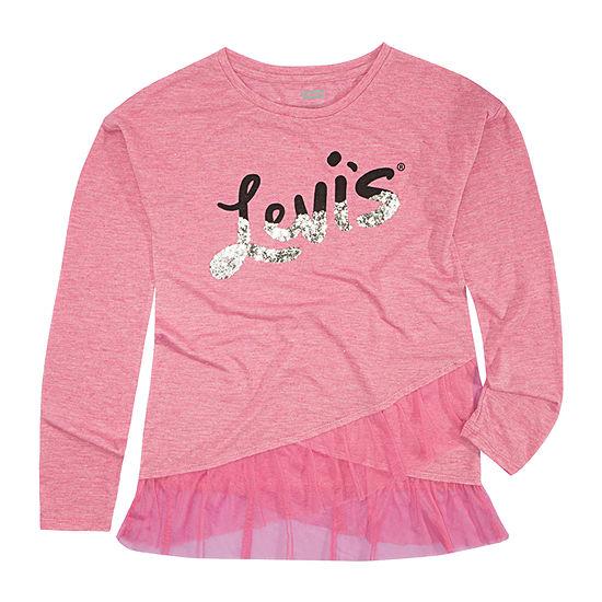 Levi's Ruffled Hem Top Girls Round Neck Long Sleeve T-Shirt-Preschool