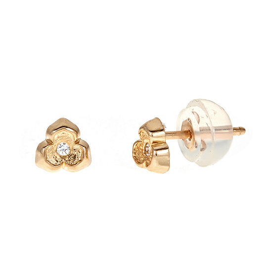 Diamond Accent White Cubic Zirconia 14K Gold 4.5mm Flower Stud Earrings
