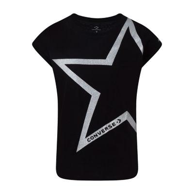 Converse Girls Crew Neck Short Sleeve Graphic T-Shirt-Big Kid