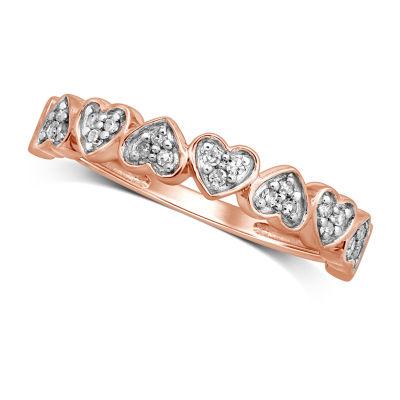 Womens 1/8 CT. T.W. Genuine White Diamond 10K Rose Gold Anniversary Band