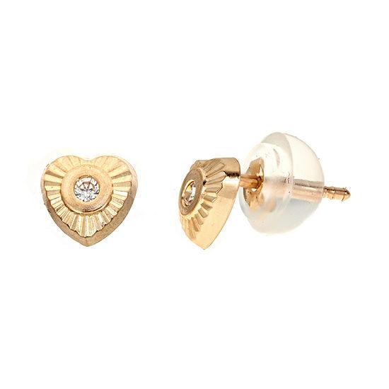 Diamond Accent White Cubic Zirconia 14K Gold 5mm Heart Stud Earrings