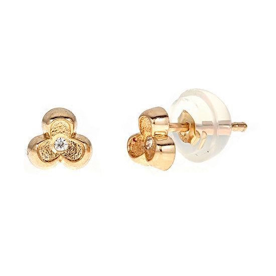 Diamond Accent White Cubic Zirconia 14K Gold 4.5mm Flower Stud Earrings
